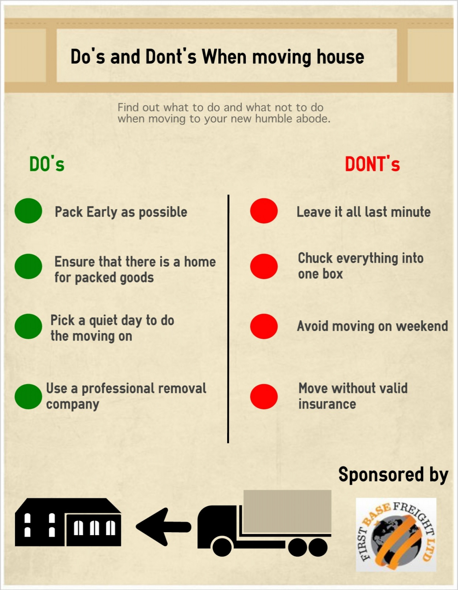 DO's and DONT's when moving house Infographic