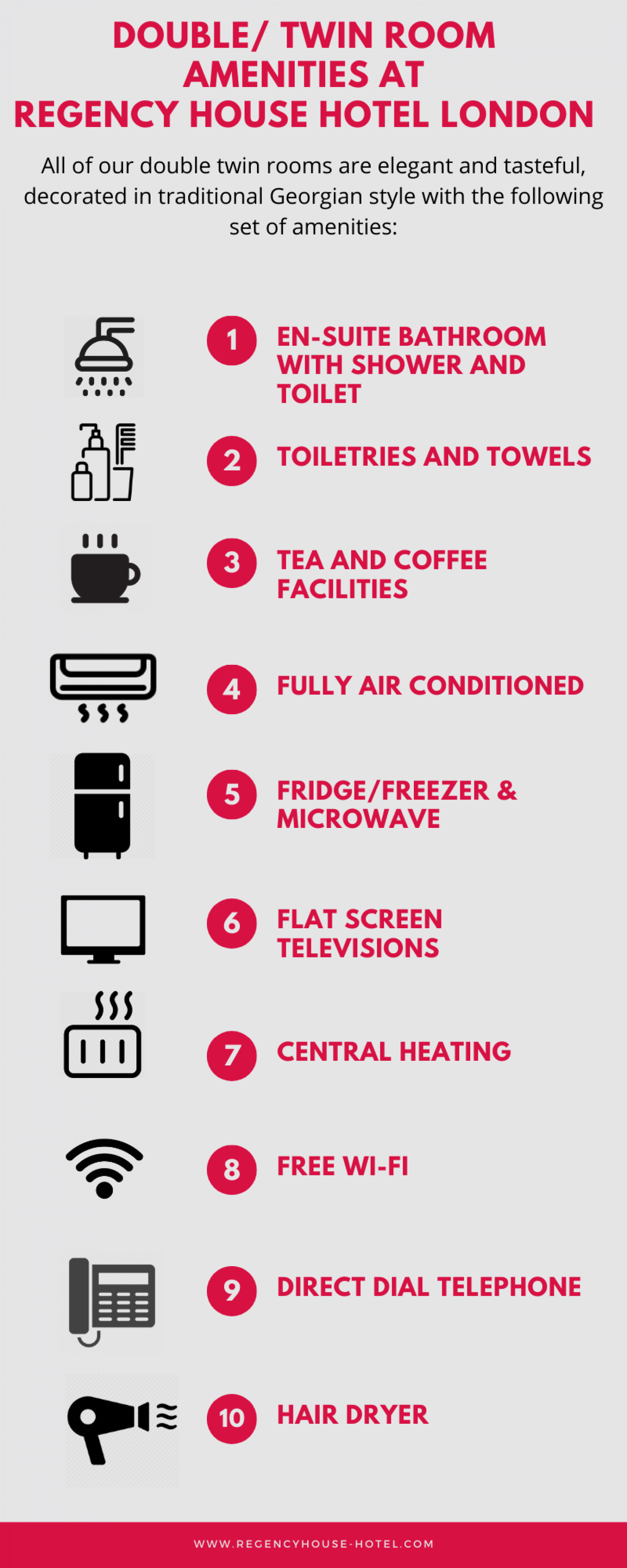 Double/ Twin Room Amenities at Regency House hotel London Infographic