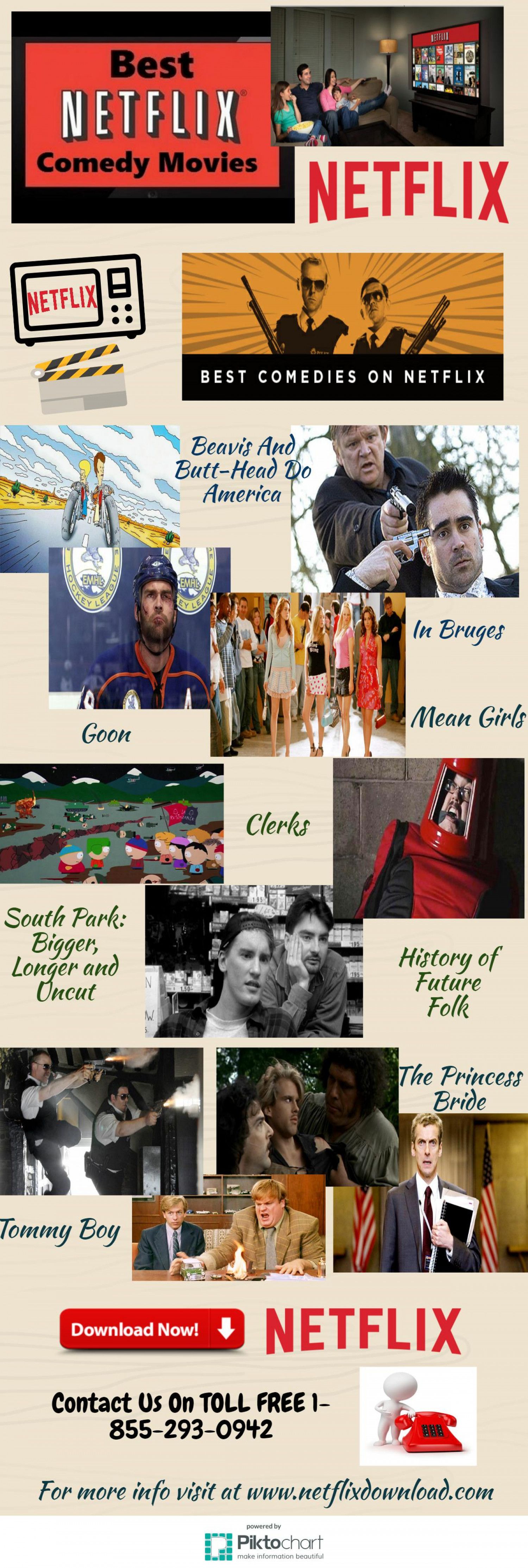 Download Netflix Free app to Stream Best Comedy Movies Infographic