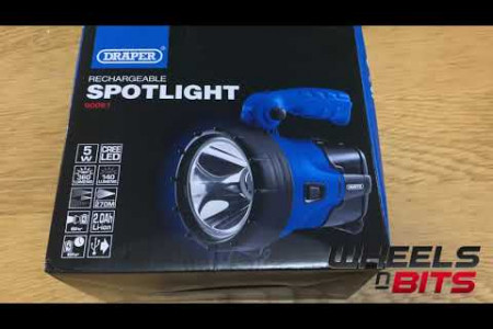 Draper 90081 5W Cree LED Rechargeable Spotlight Torch with Built inc Power Bank Infographic