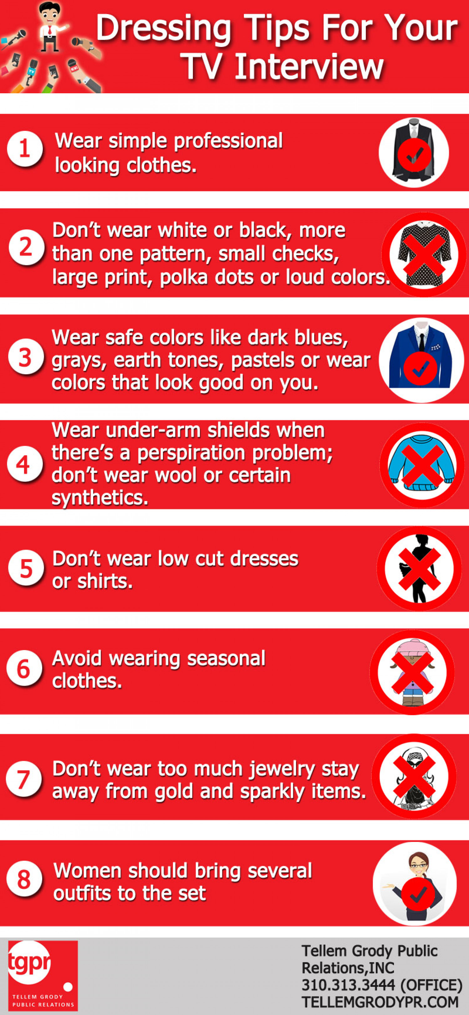Dressing Tips For Your TV Interview Infographic