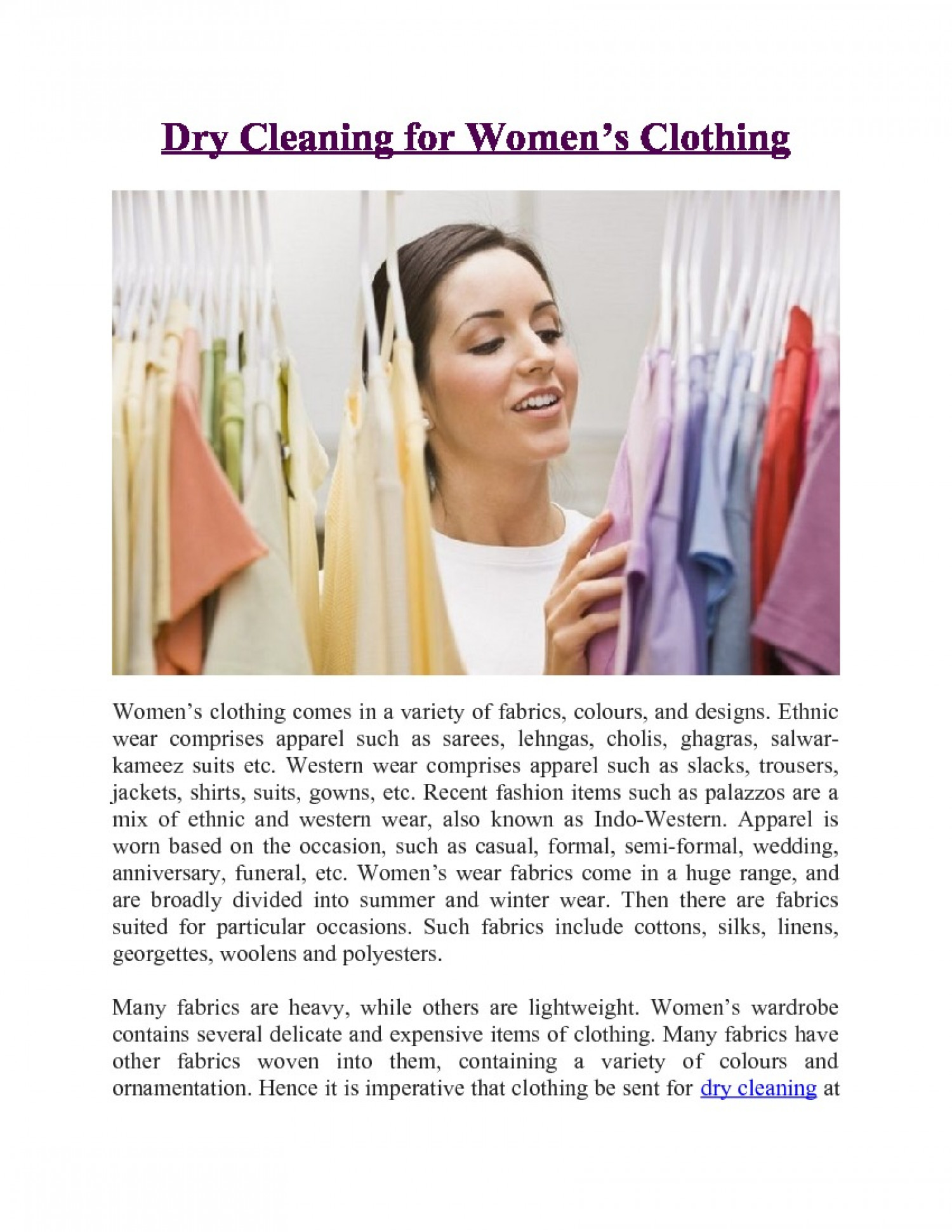 Dry Cleaning for Women's Clothing Infographic