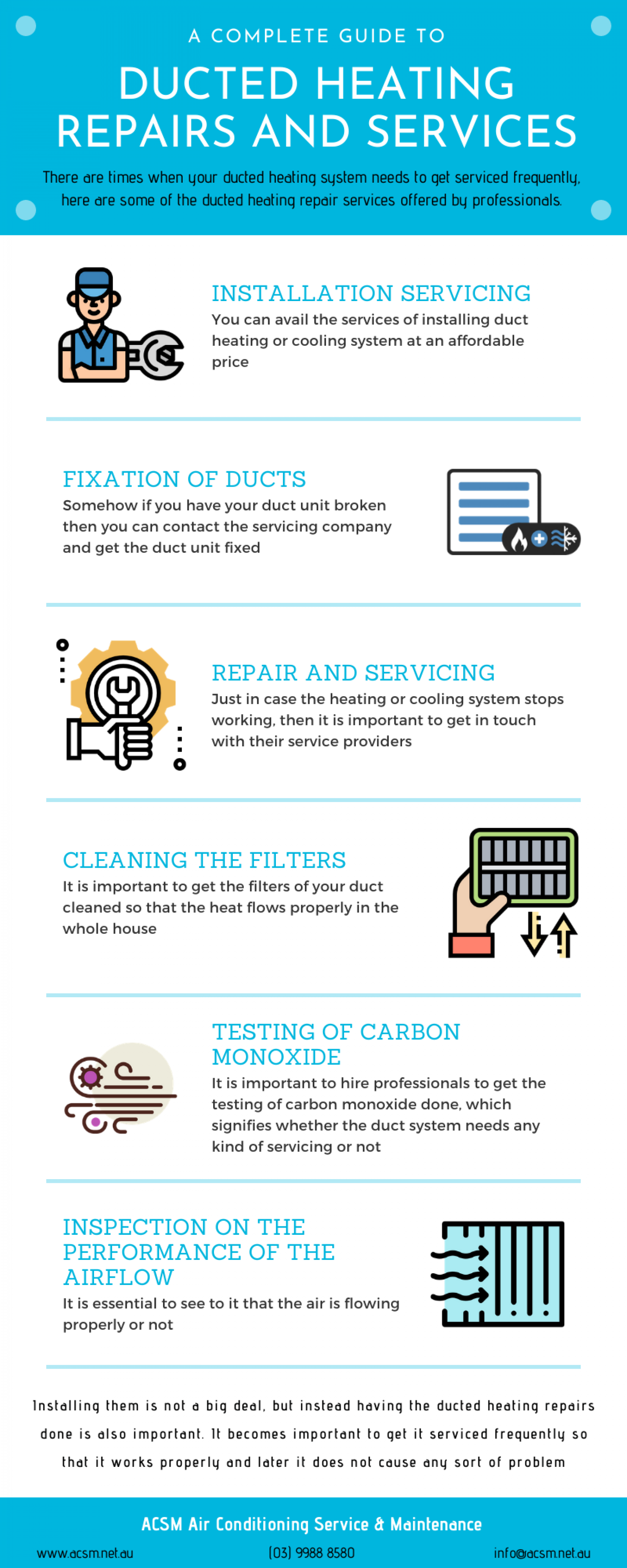 Ducted Heating - Repairs and Services Infographic