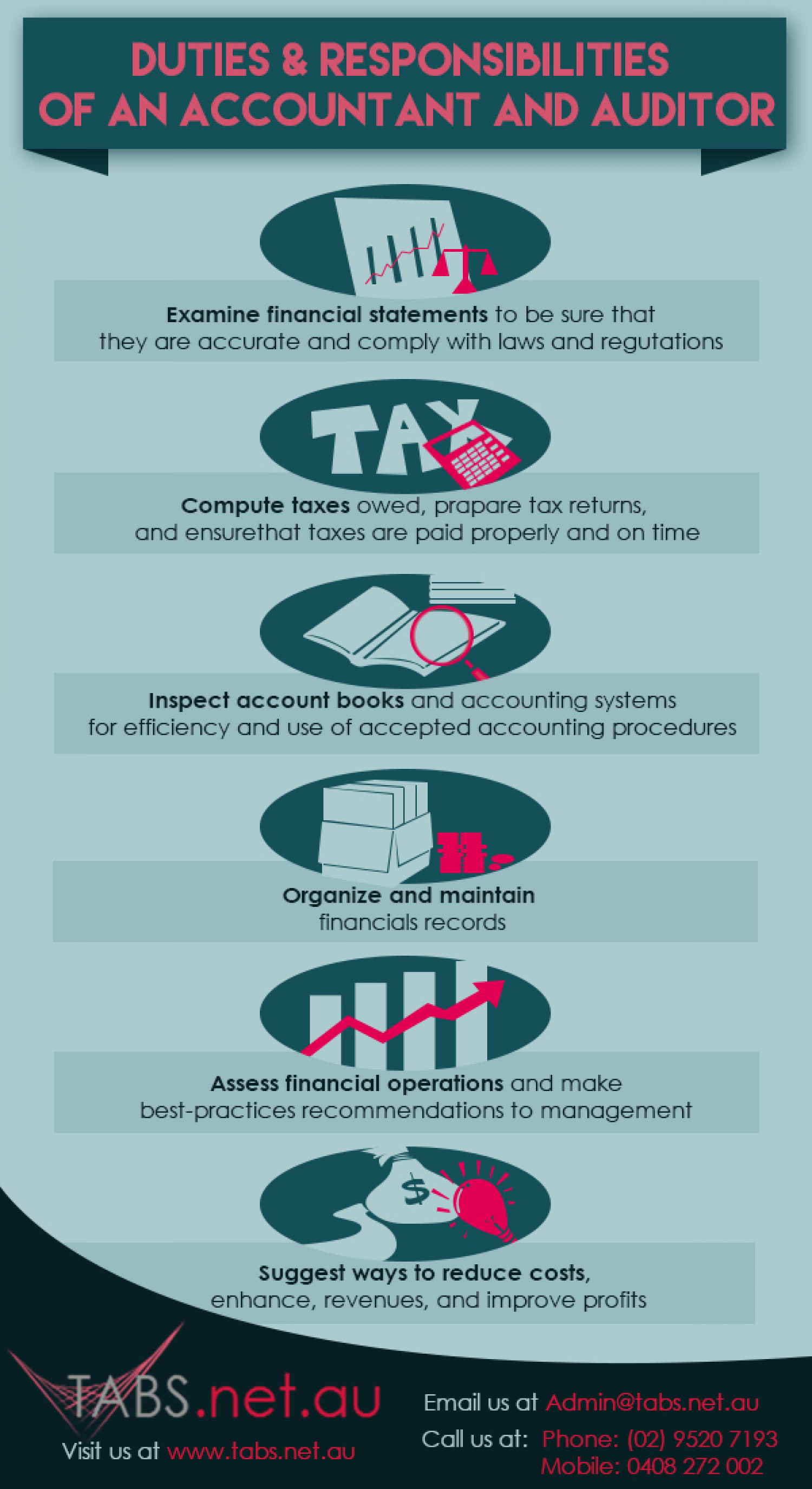 duties responsibilities of an accountant and auditor infographic