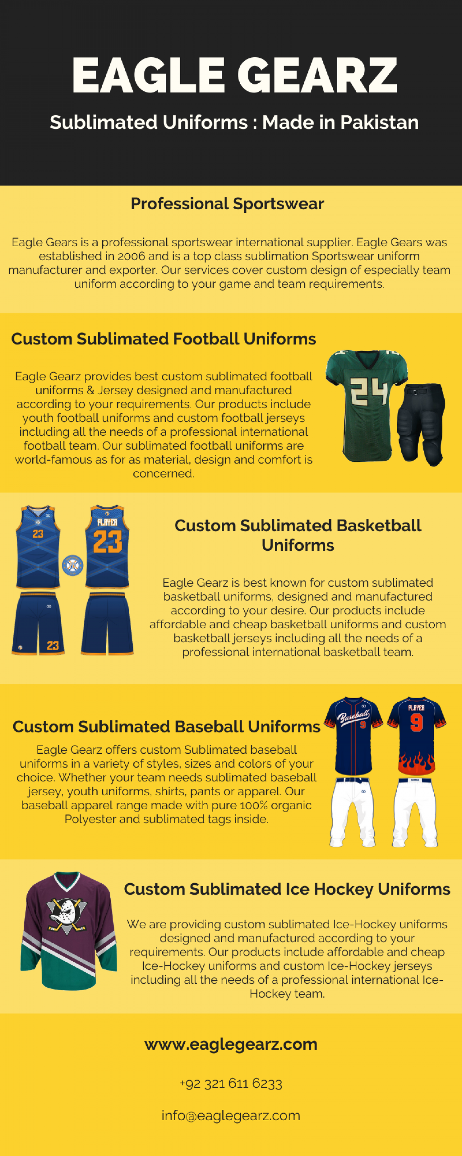 Eagle Gearz : World Best Custom Sublimated Uniforms Infographic