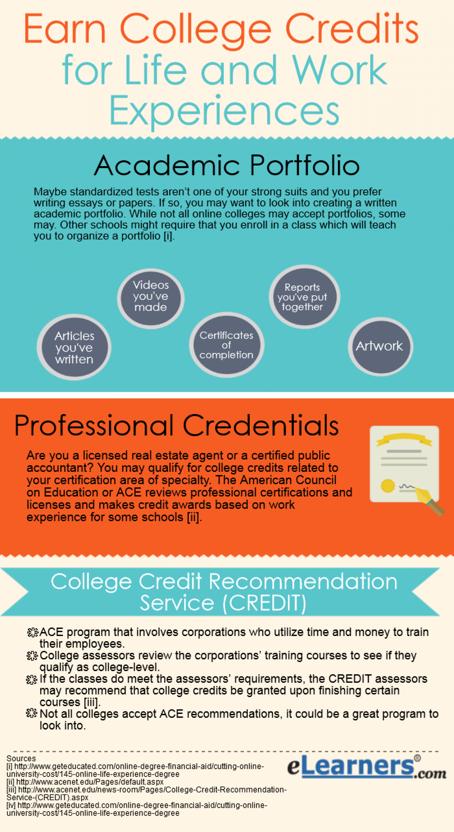 earn college credits for life and work experiences infographic