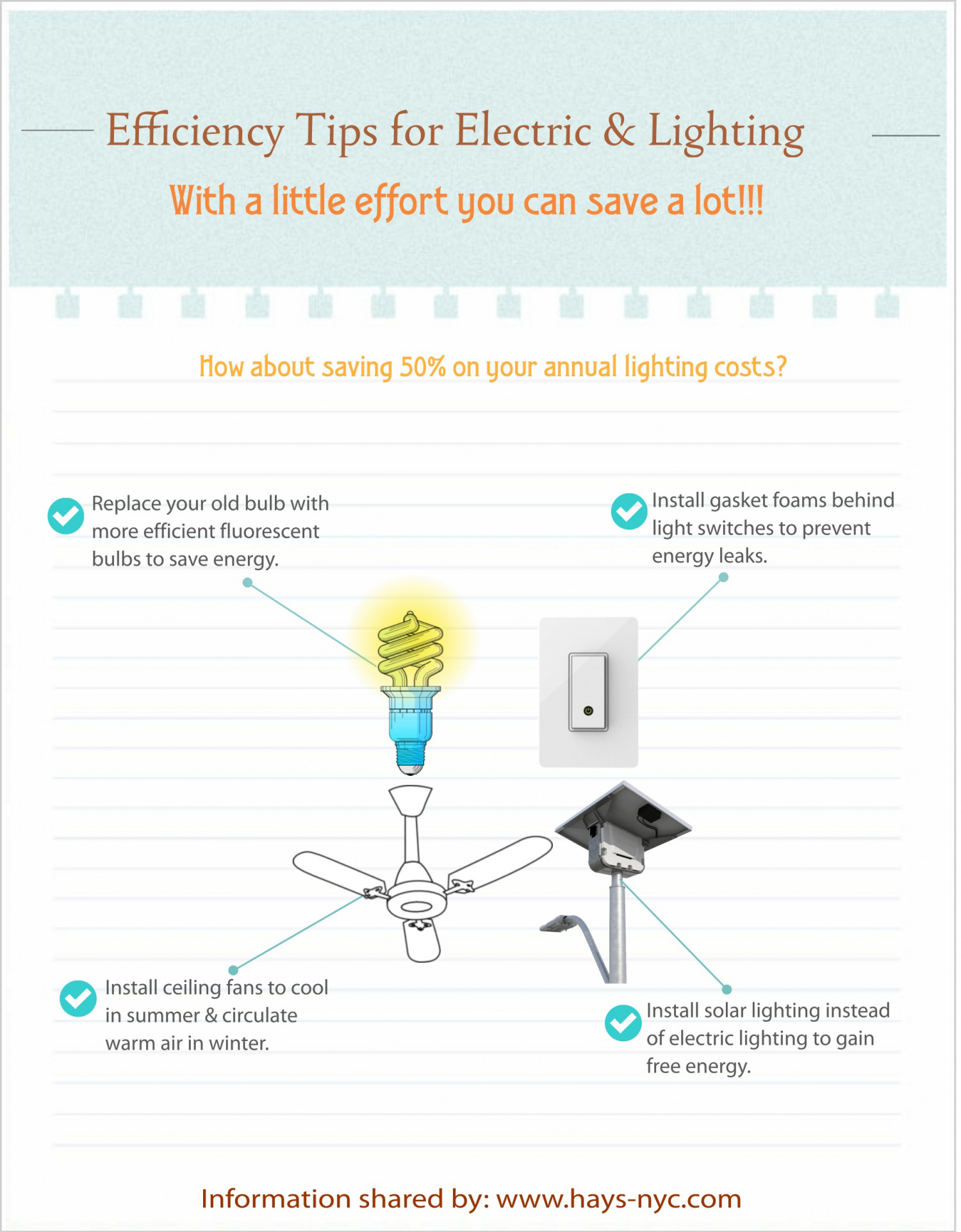 Efficient tips to save electricity bills Infographic