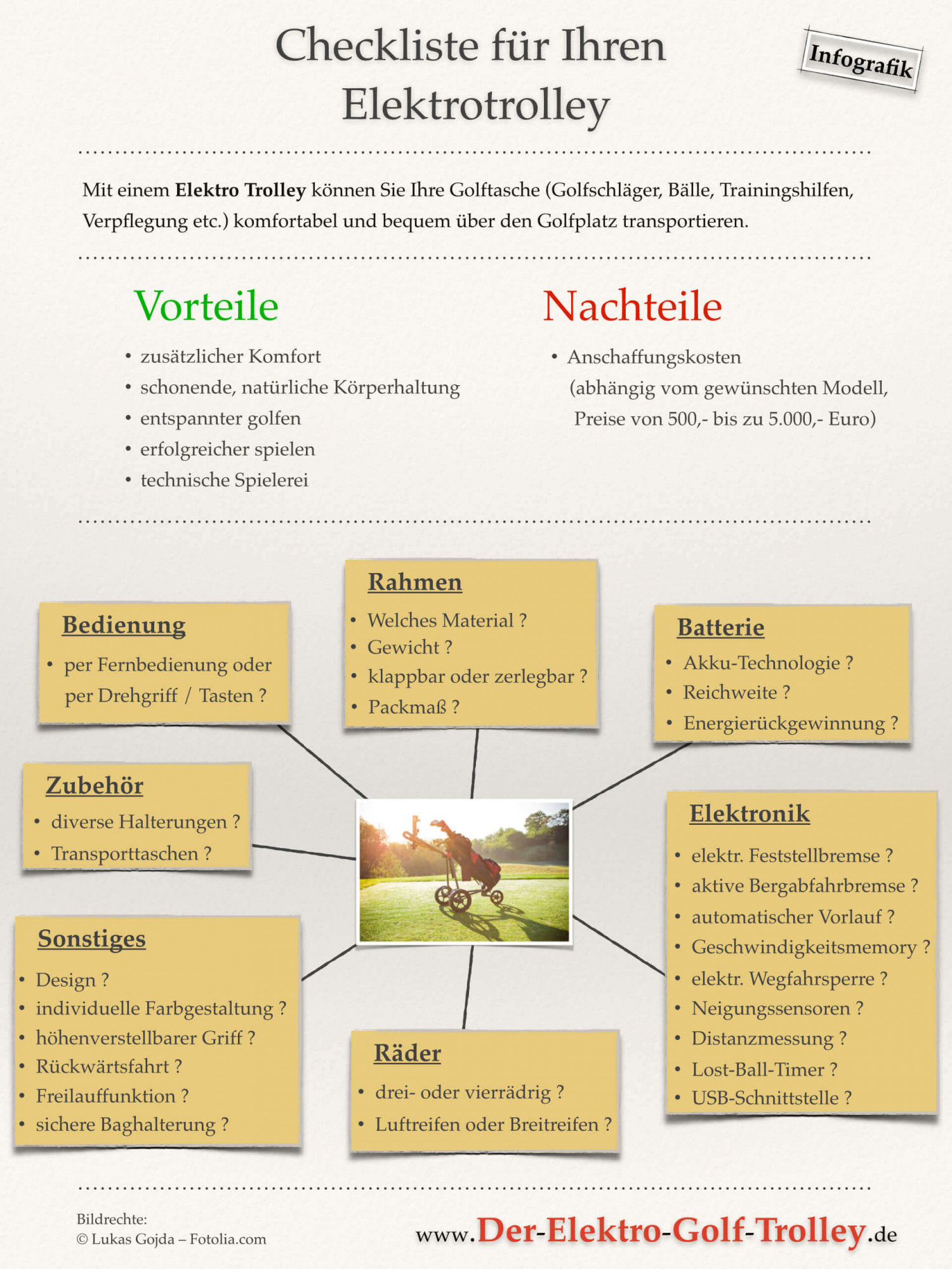 Elektrotrolley kaufen - Checkliste Infographic