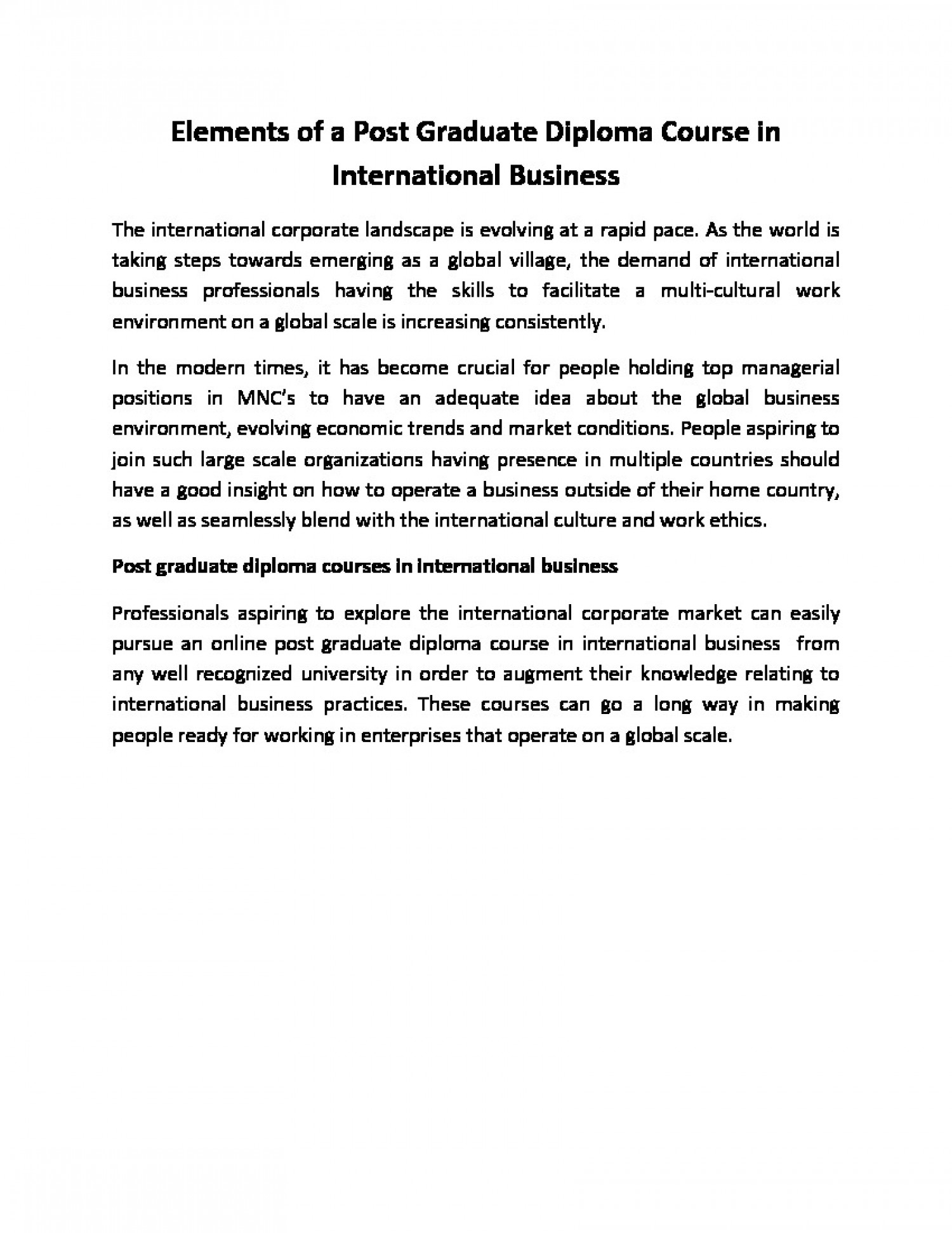 Elements of a Post Graduate Diploma Course in International Business Infographic