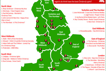 English Christmas Songs by Region Infographic