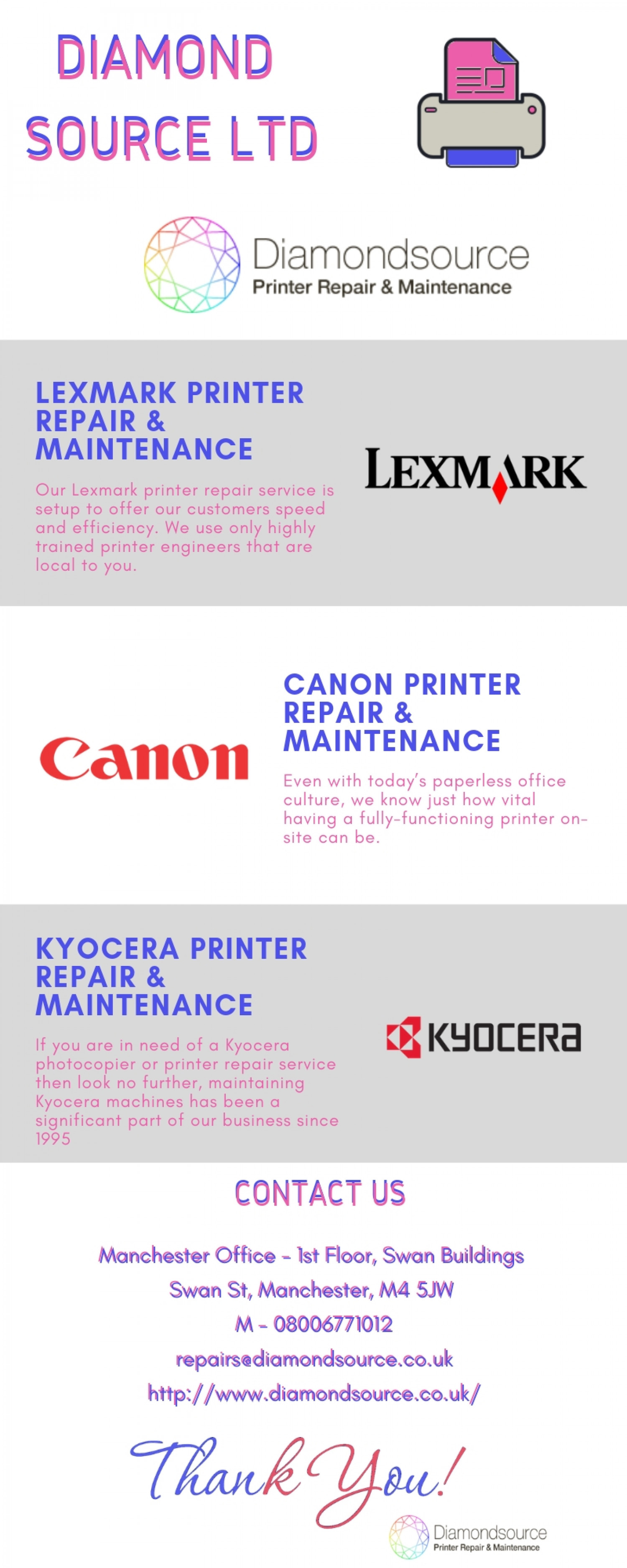 Epson Printer Repair and Maintenance - Diamond Source Ltd Infographic