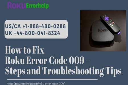 Error Code 009 Roku Fix – Call +1 888-480-0288 Infographic