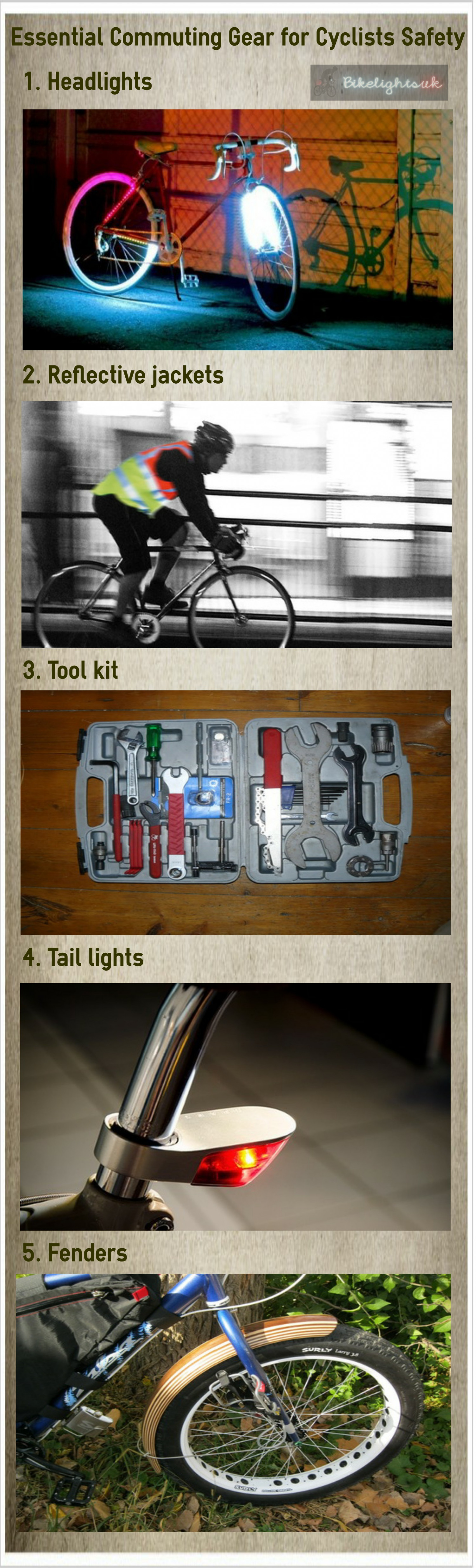 Essential Commuting Gear for Cyclists Safety Infographic