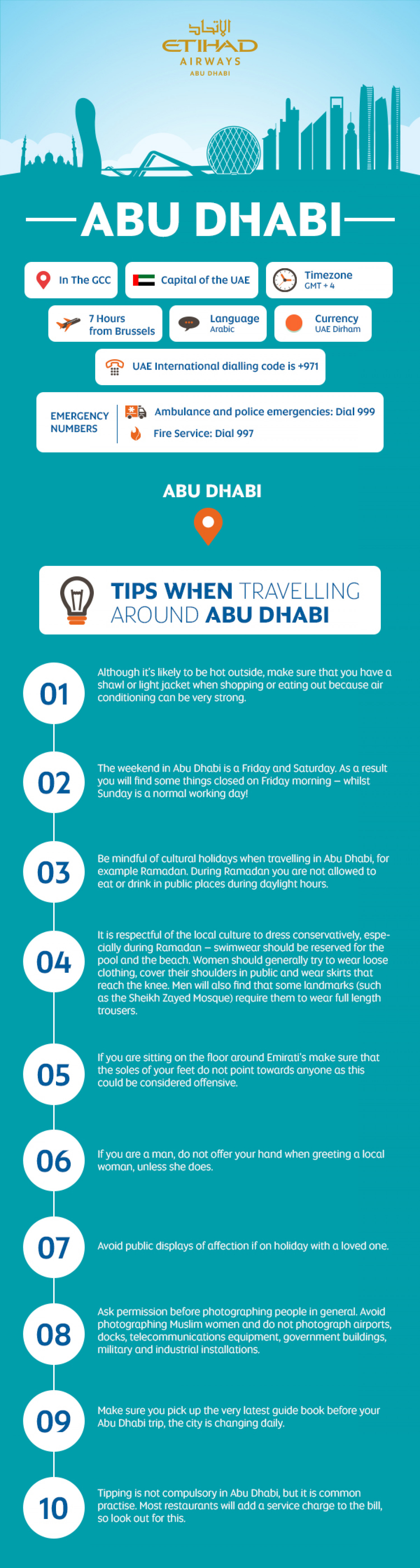 Etihad's Top Tips for Travelling to Abu Dhabi Infographic