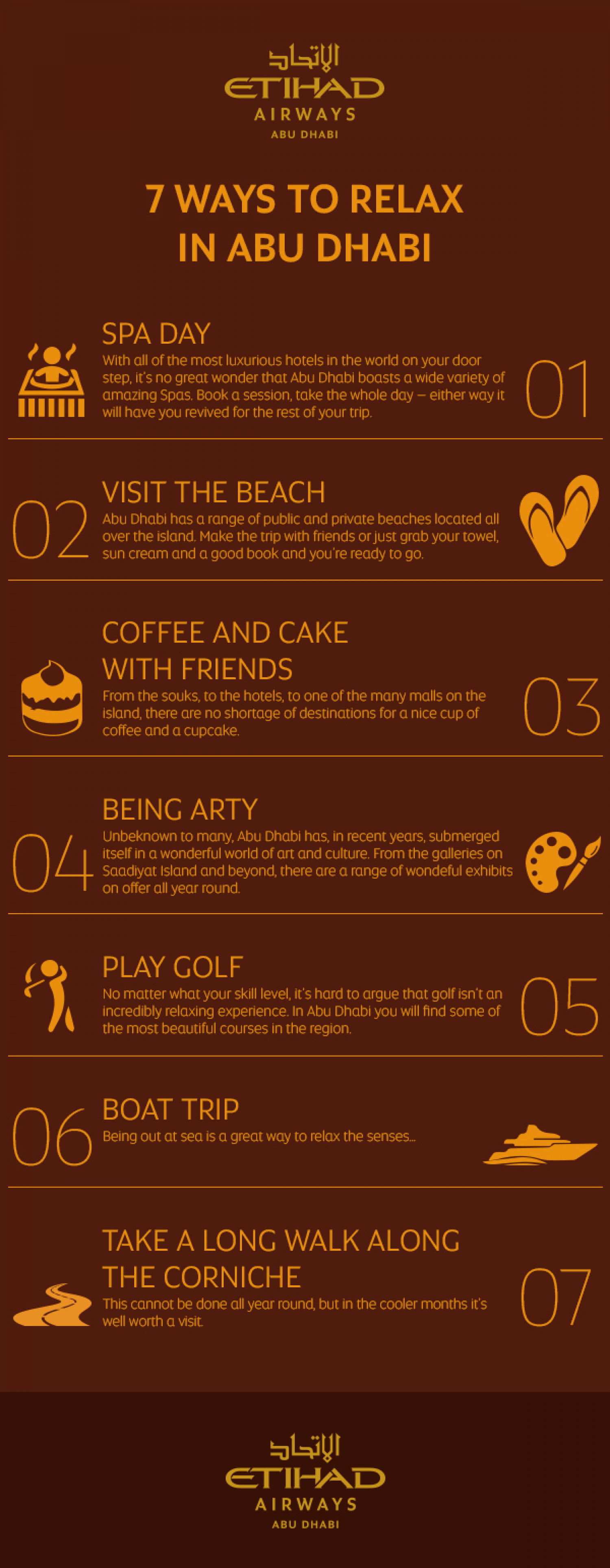 Etihad'sTop 7 Ways to Relax in Abu Dhabi Infographic