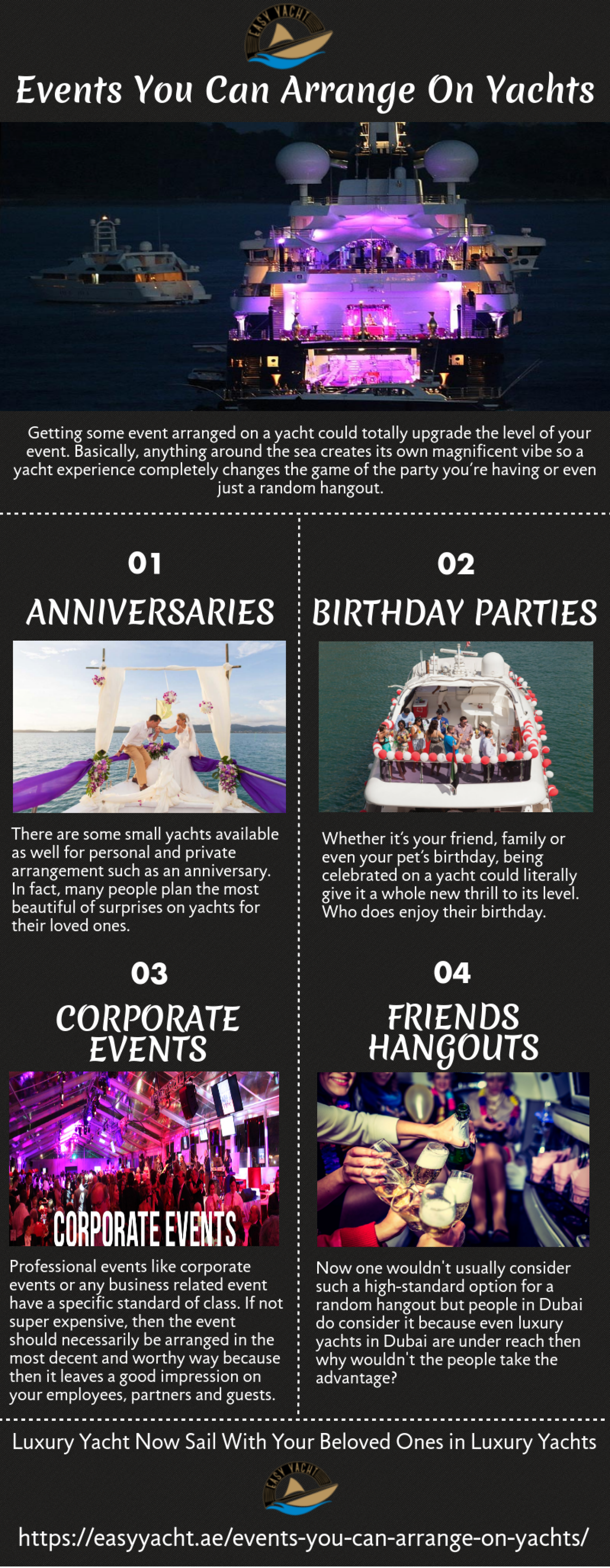 Event You Can Arrange on Yachts