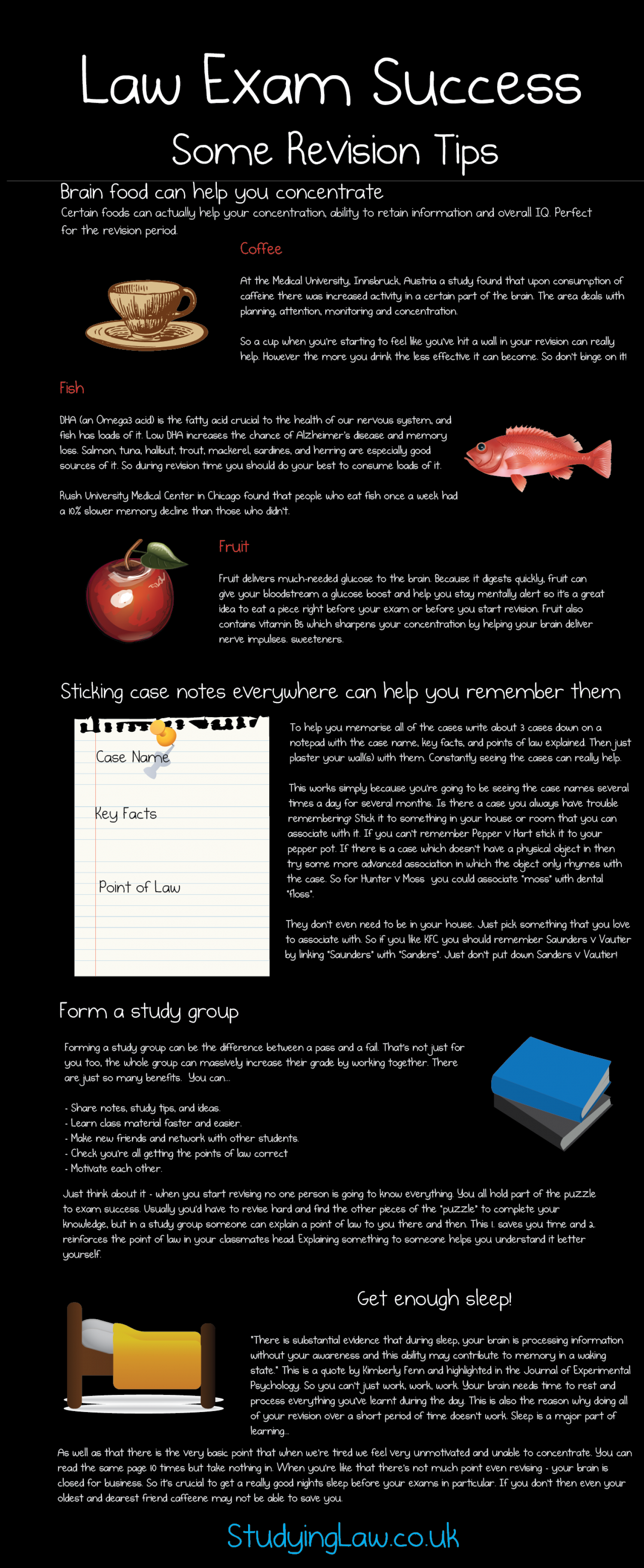 Exam Revision Tips for Law School Infographic