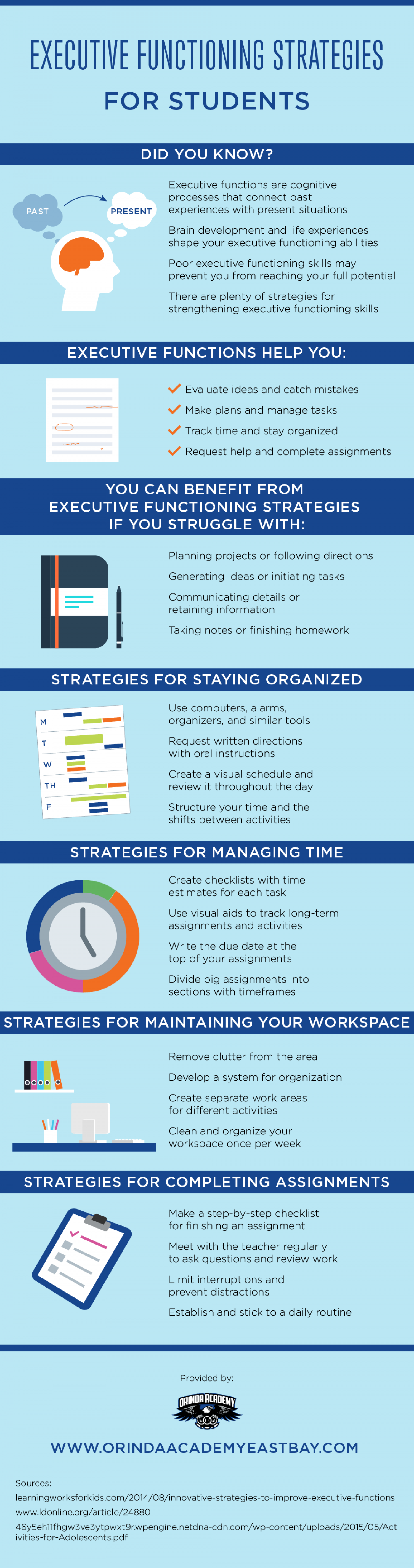 Executive Functioning Strategies for Students Infographic