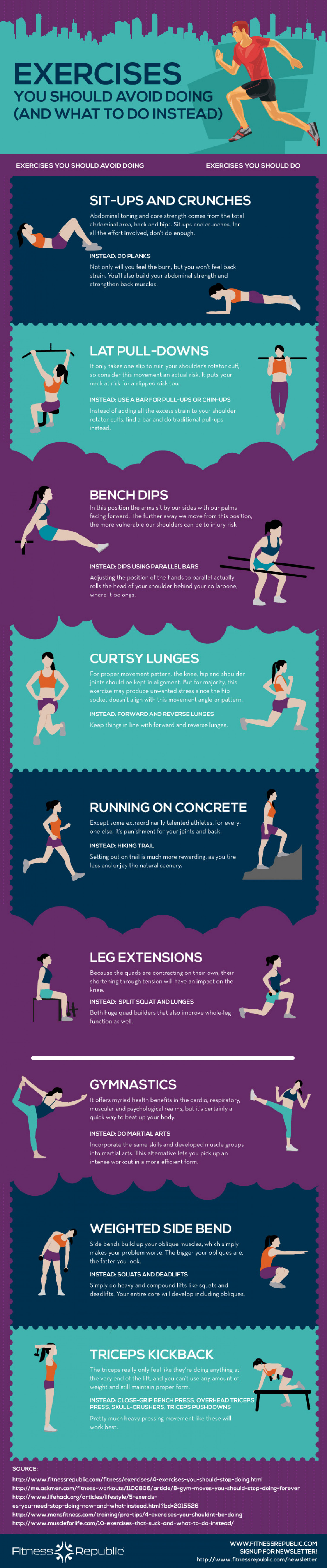 Exercises You should Avoid Doing and What to Do Instead  Infographic
