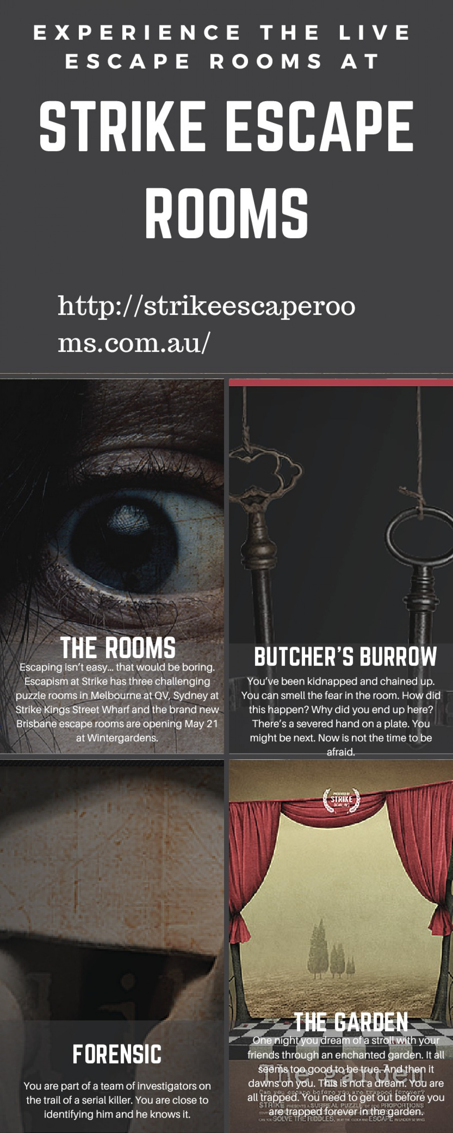 Experience the Live Escape Rooms At Strike Escape Rooms Infographic