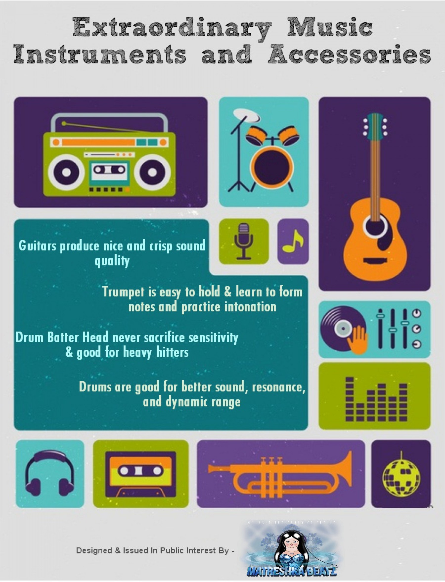 Extraordinary Music Instruments and Accessories Infographic