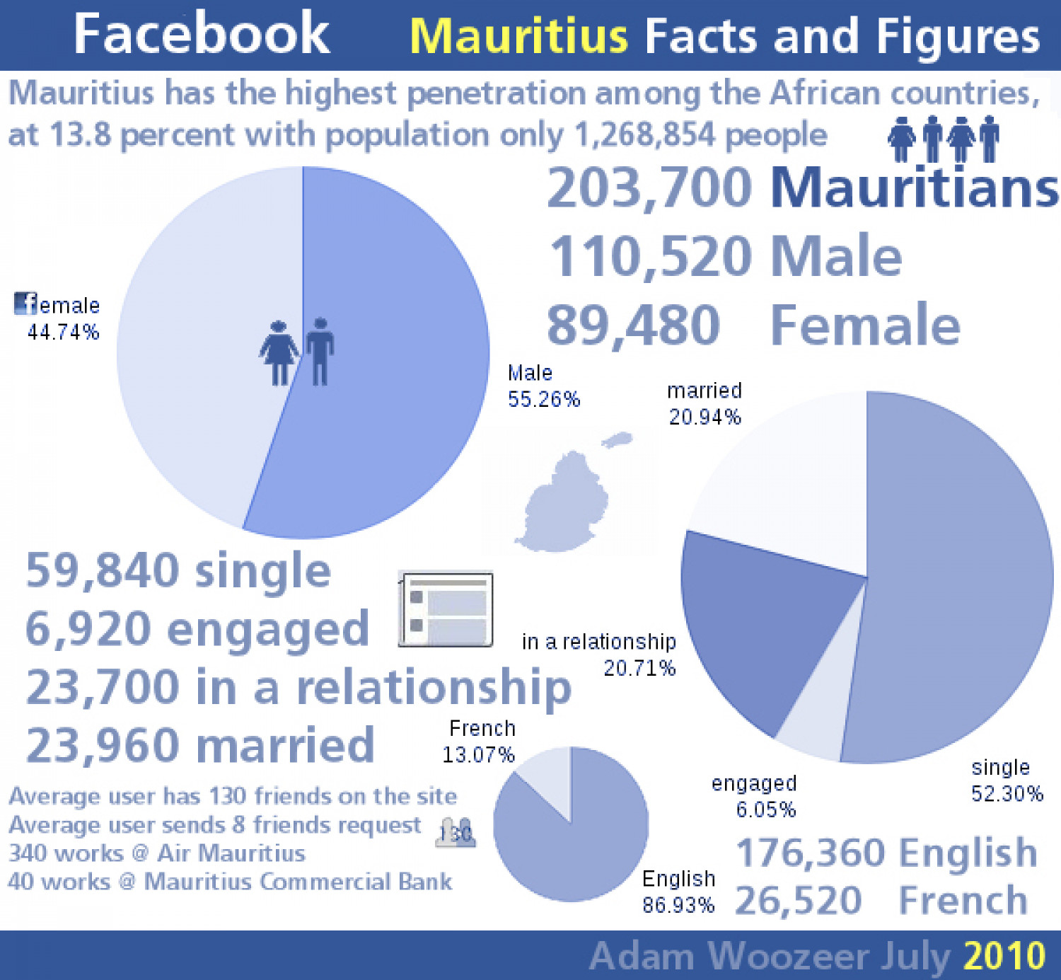 Facebook Insights on Mauritius Infographic