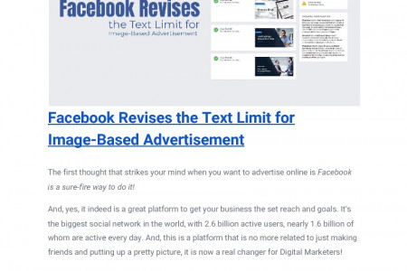 Facebook Revises the Text Limit for Image-Based Advertisement Infographic