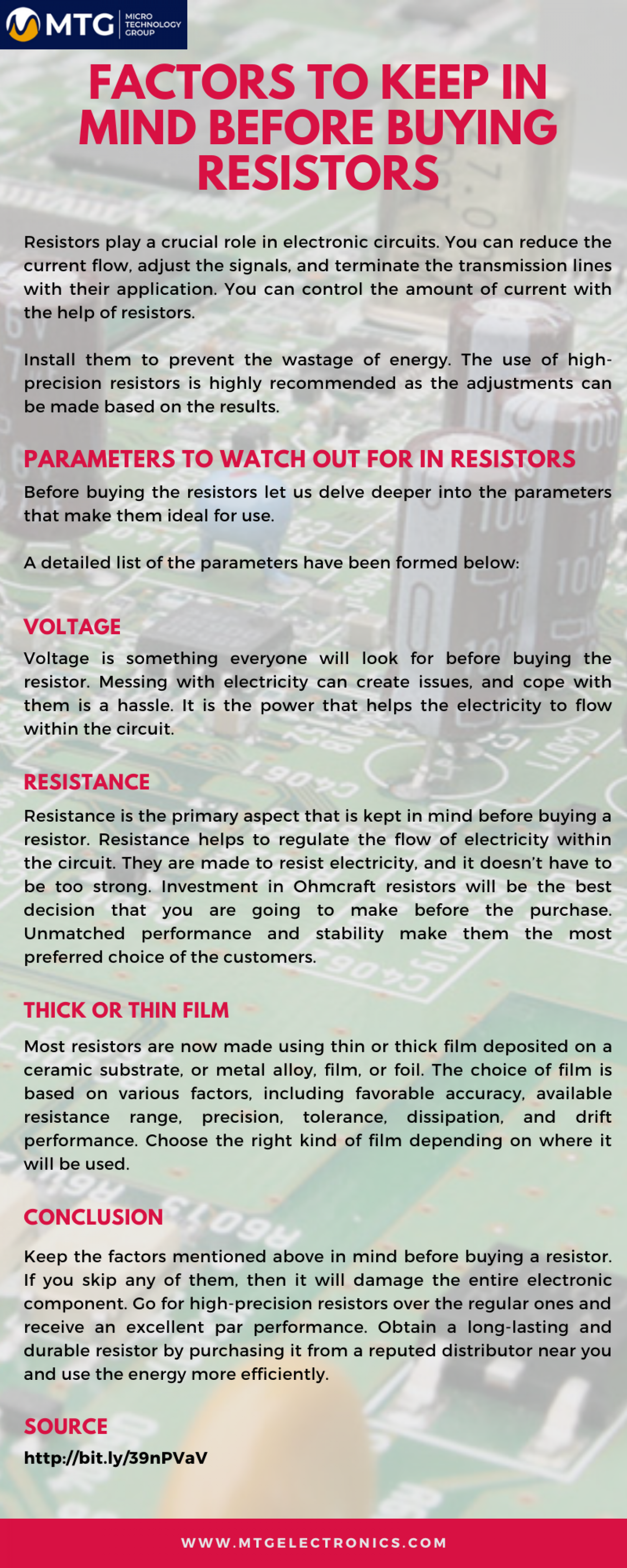 Factors to Keep in Mind Before Buying Resistors Infographic