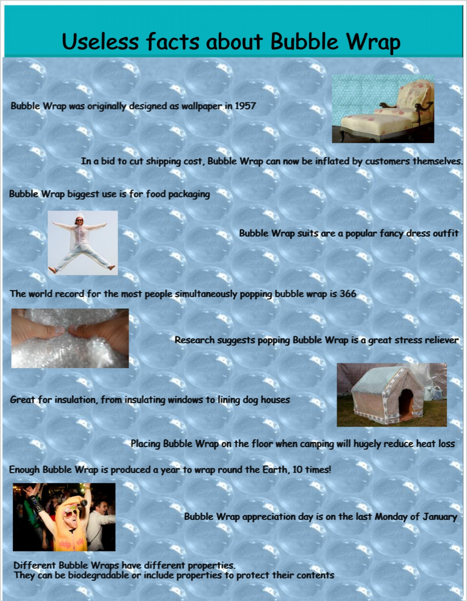 Facts about bubble wrap Infographic