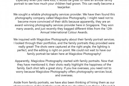 Family Portrait with Magicdow Photography in Singapore Infographic