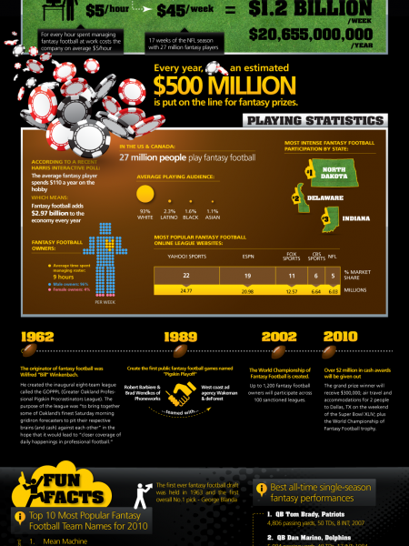 Fantasy Football Fun Facts and Statistics Infographic
