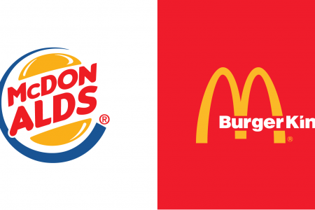 Fast Food Logo Mashups - Burger King vs McDonalds Infographic