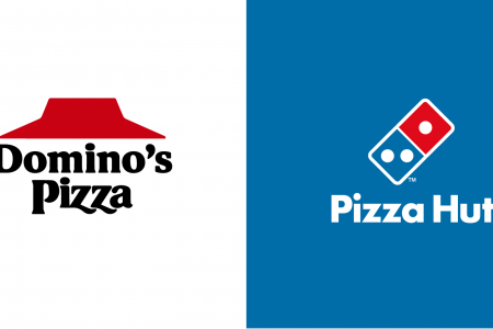 Fast Food Rival Logo Mashups - Pizza Infographic
