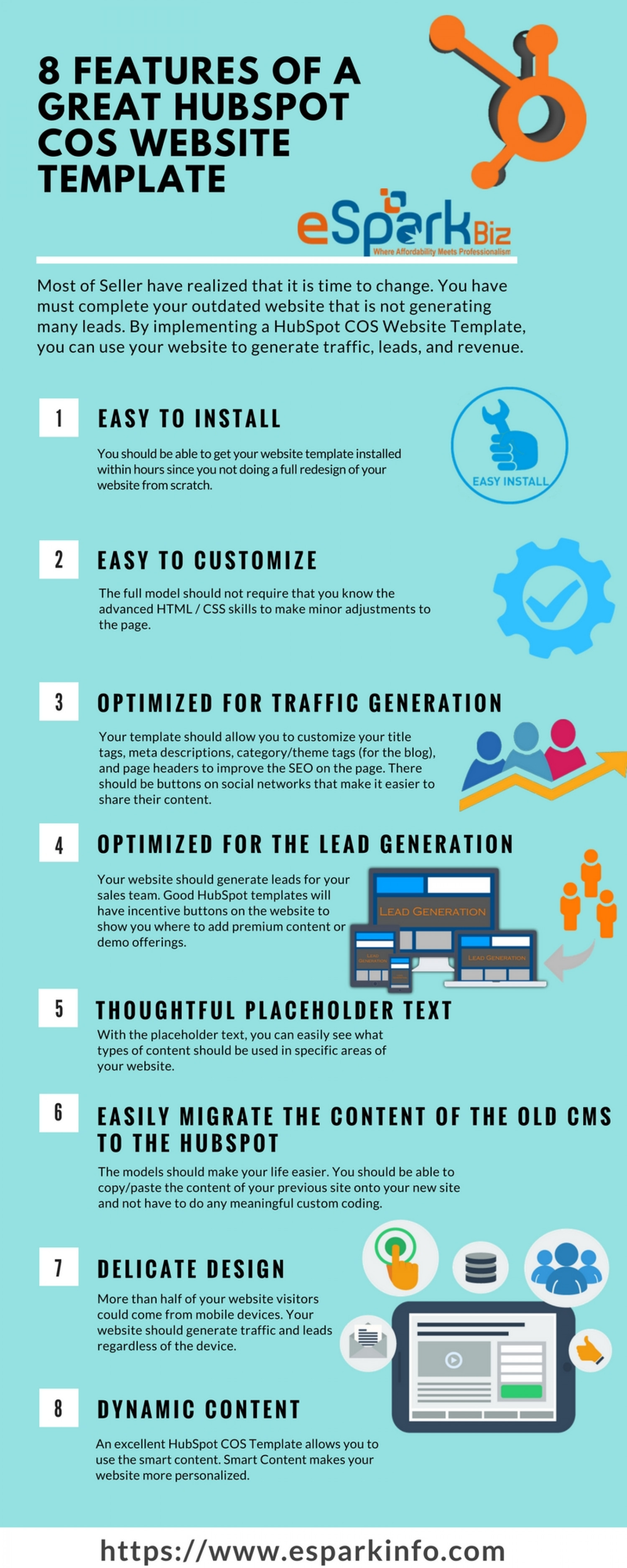 Features of a Great HubSpot COS Website Templates Infographic