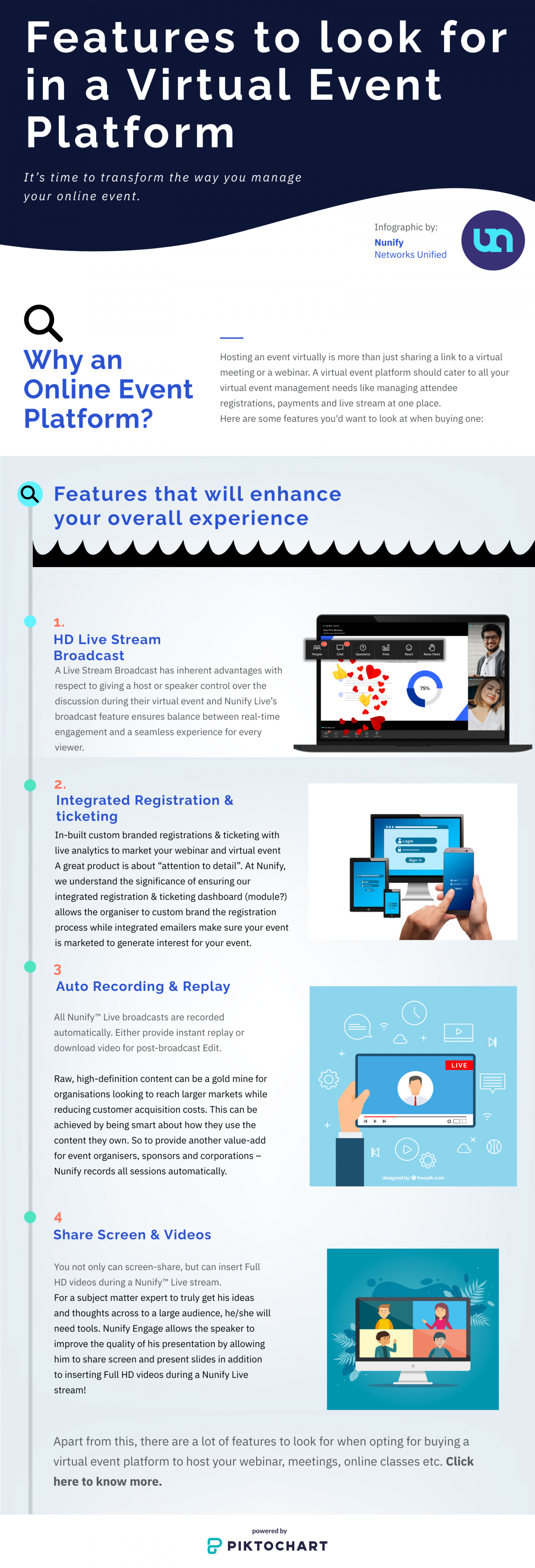 Features to look for in a Virtual Event Platform Infographic