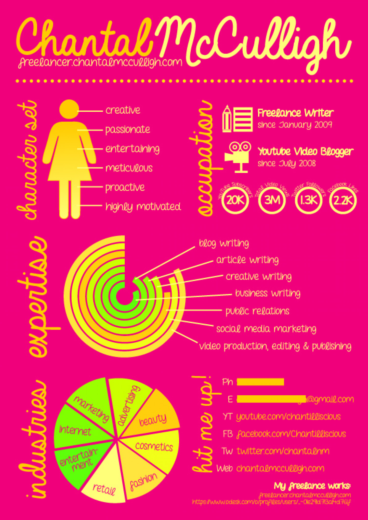 feminine infographic resume of a freelance writer