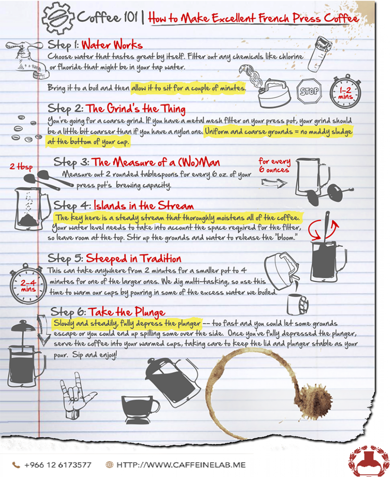 Few Steps To Make French Press Coffee Cup Infographic