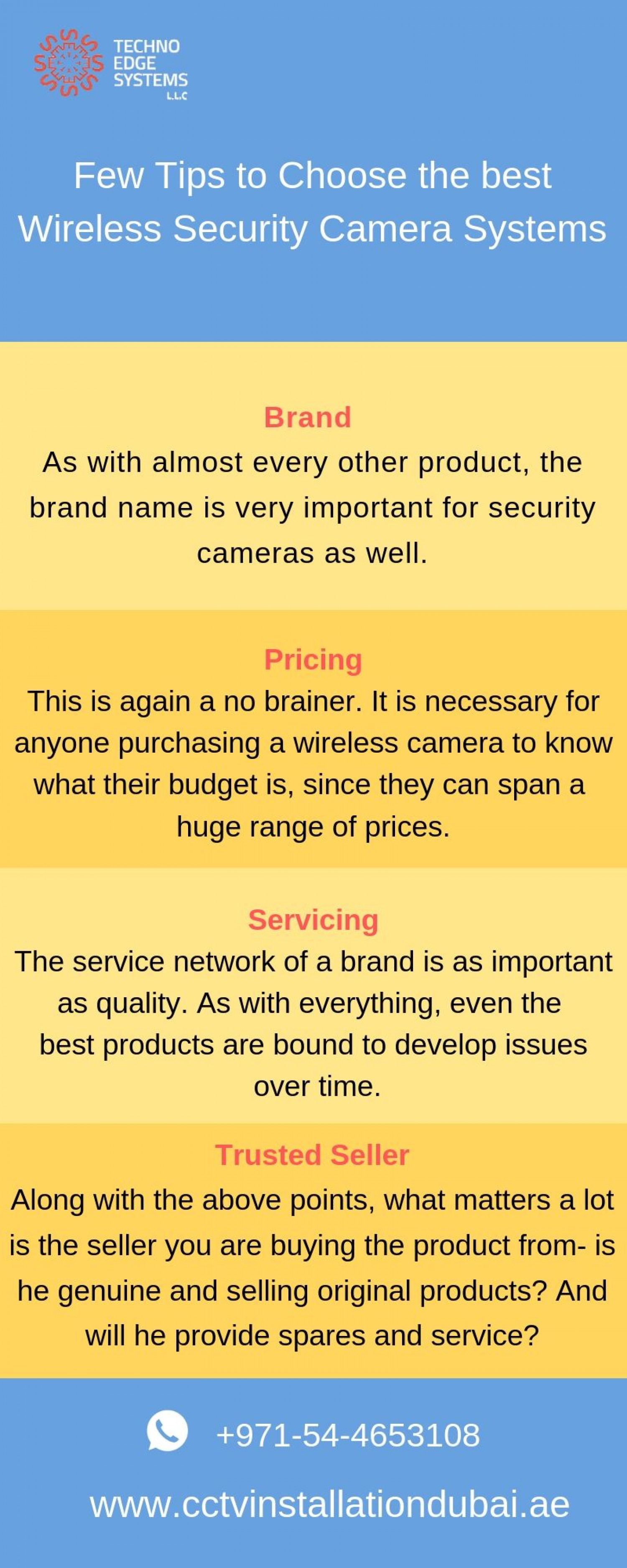 Few tips  to choose the best Wireless Security Camera Systems Infographic