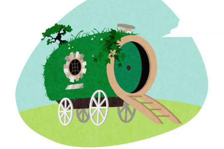 Fictional Buildings Reimagined as Caravans or Trailers: Bag End Infographic