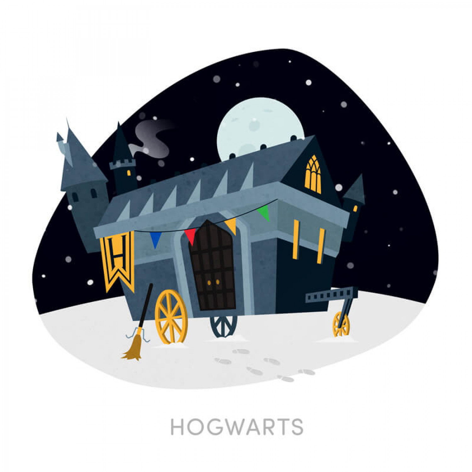 Fictional Buildings Reimagined as Caravans or Trailers: Hogwarts Infographic