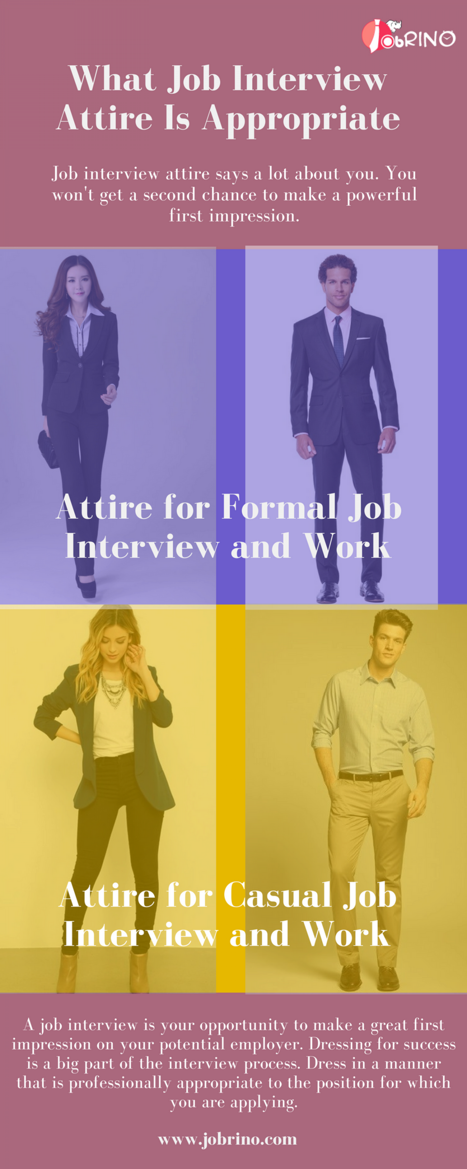 Find the job interview attire that is appropriate and explore best place to search for jobs - JobRino Infographic