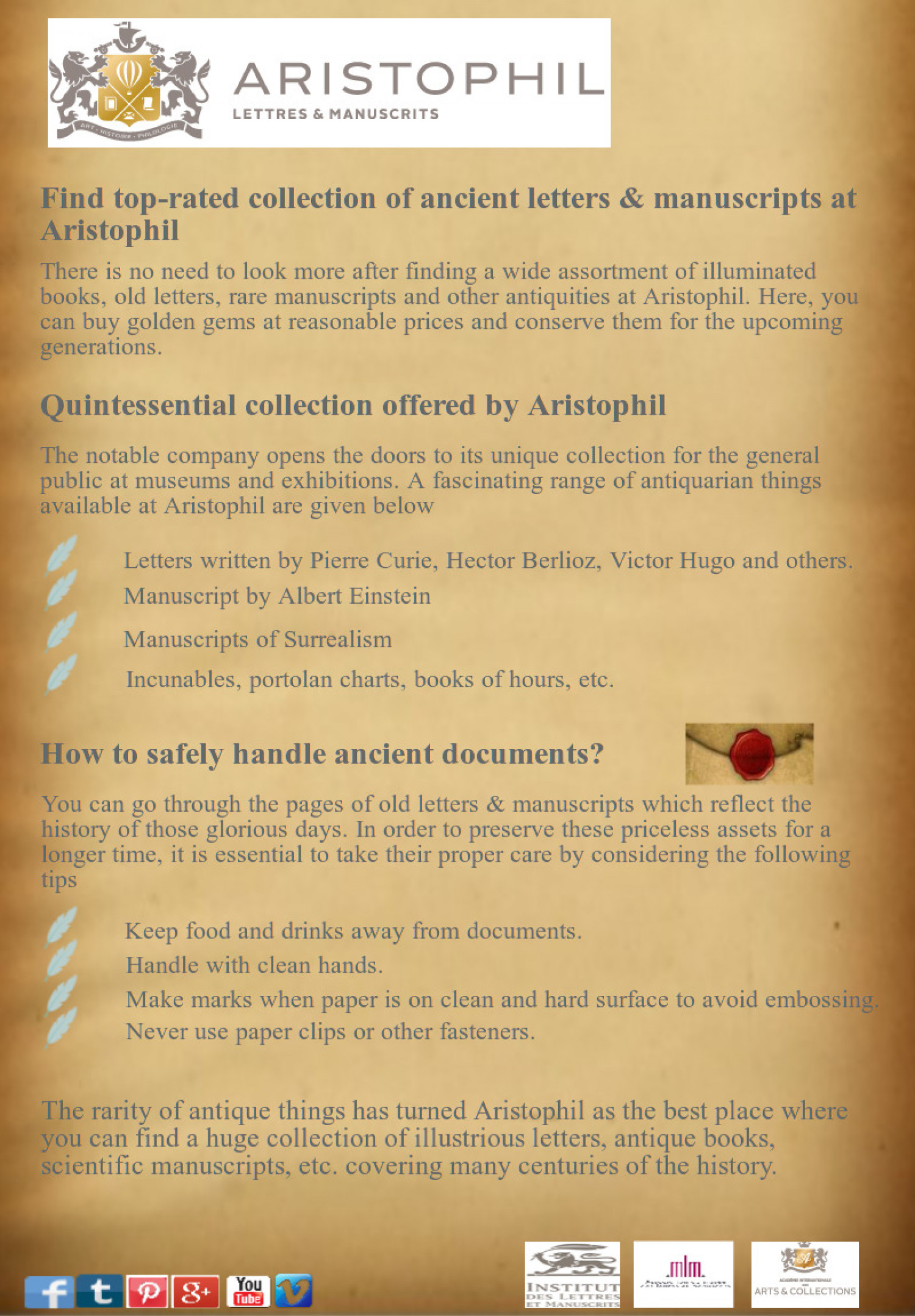 Find top-rated collection of ancient letters & manuscripts at Aristophil Infographic