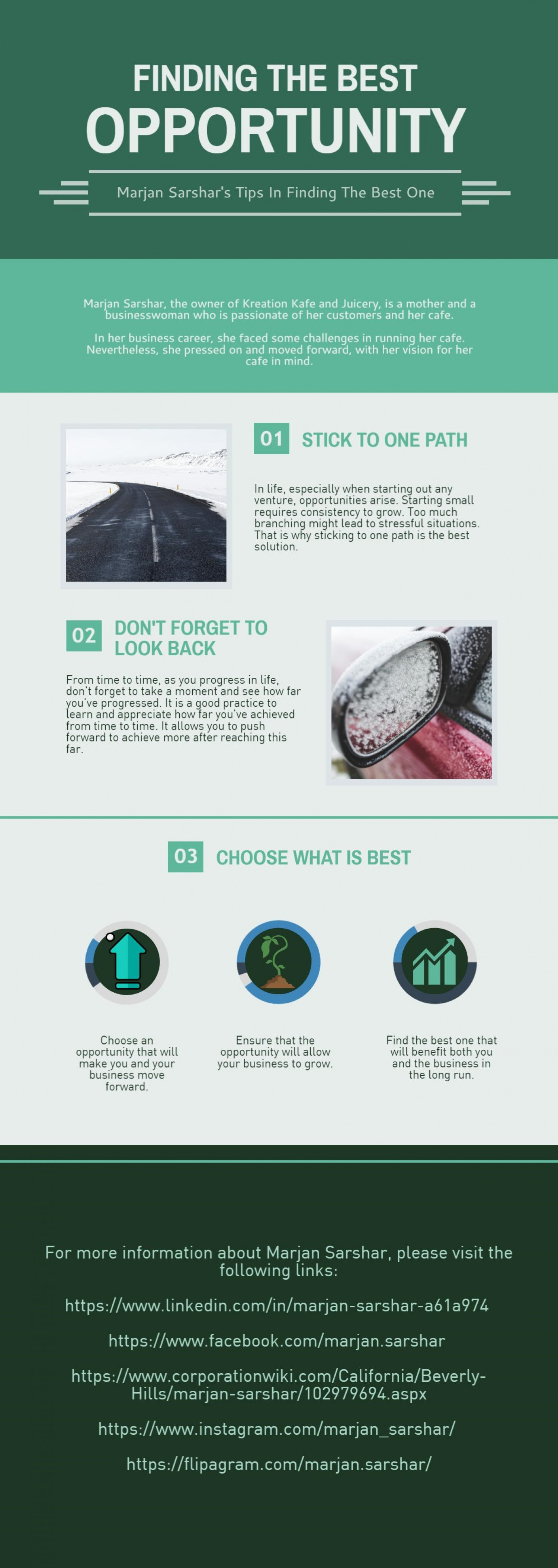 Finding the Best Opportunity: Marjan Sarshar's Tips Infographic