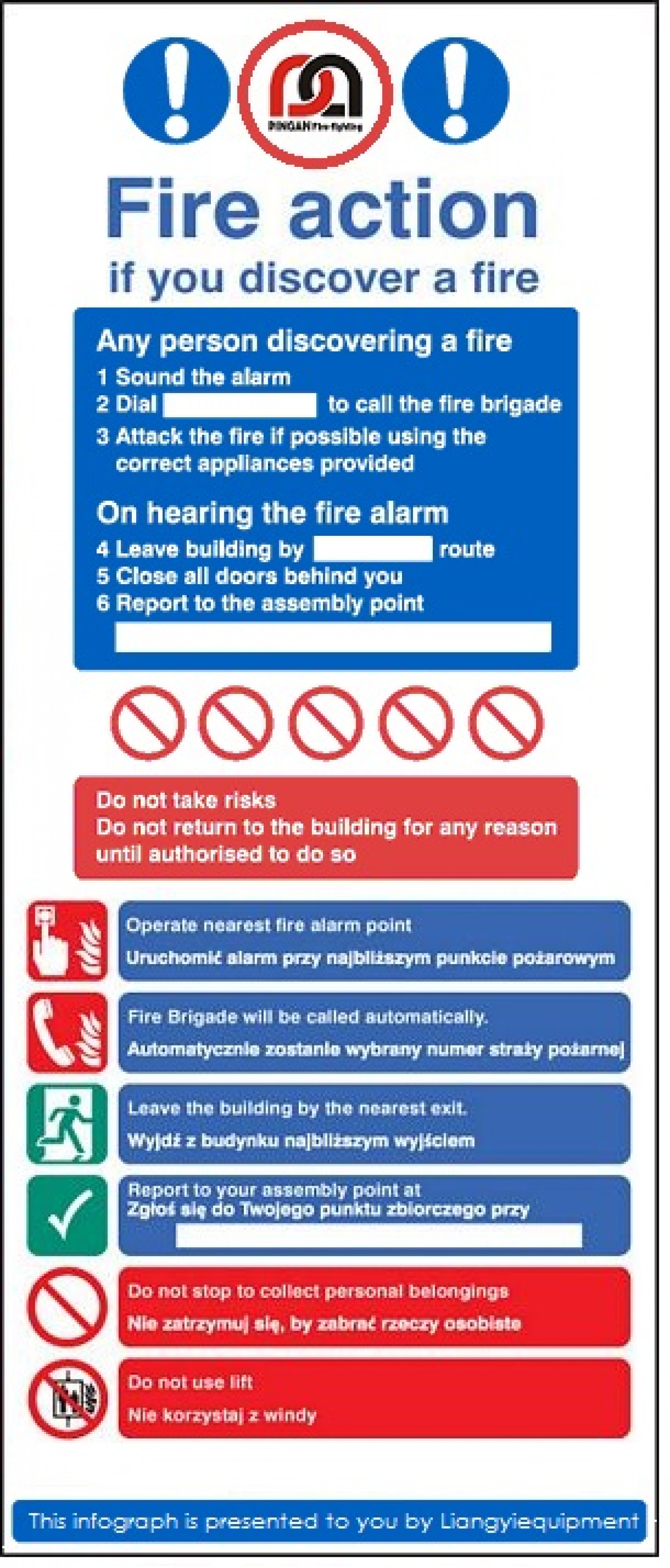 FIRE ACTION SIGNS FOR FIRE SAFETY  Infographic