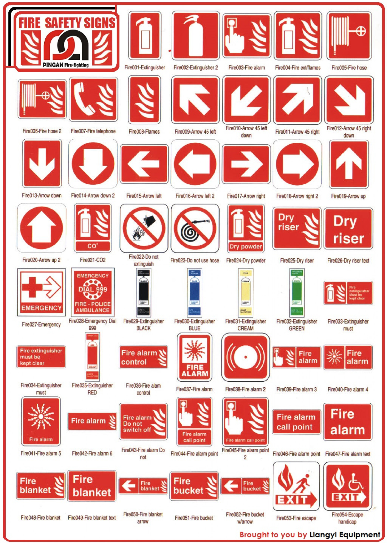 Fire Safety Signs By Liangyiequipment Visual Ly