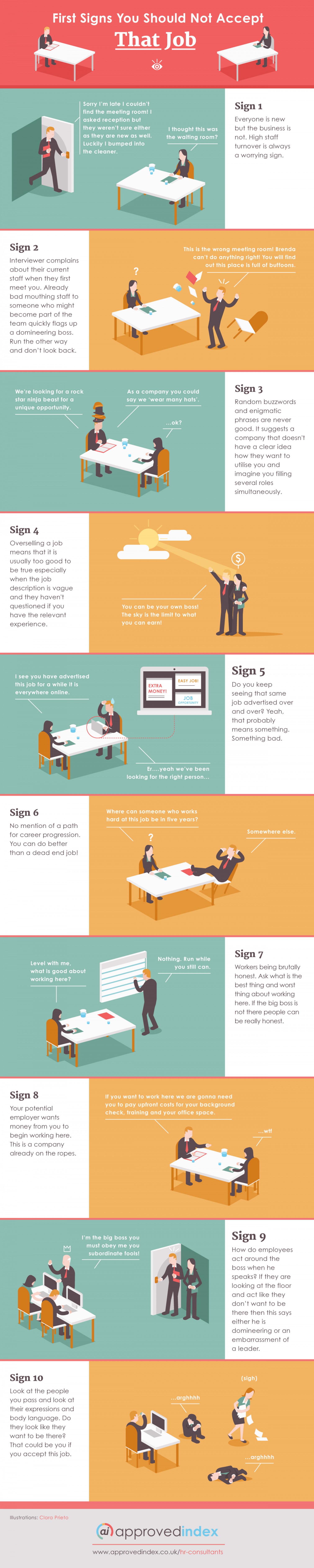 First Signs That You Should Not Take That Job Infographic
