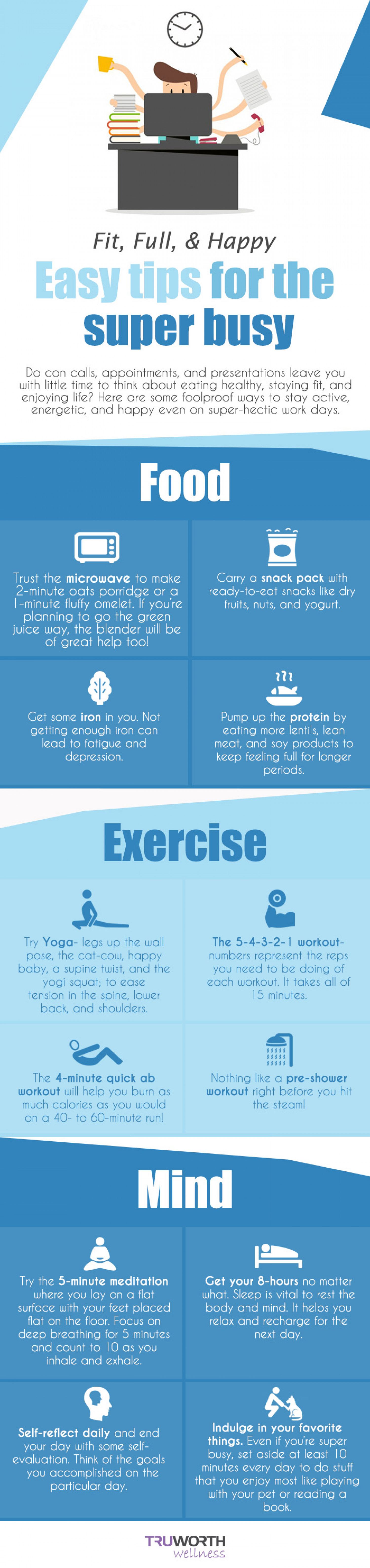 Fit, Full, & Happy: Easy tips for the super busy Infographic