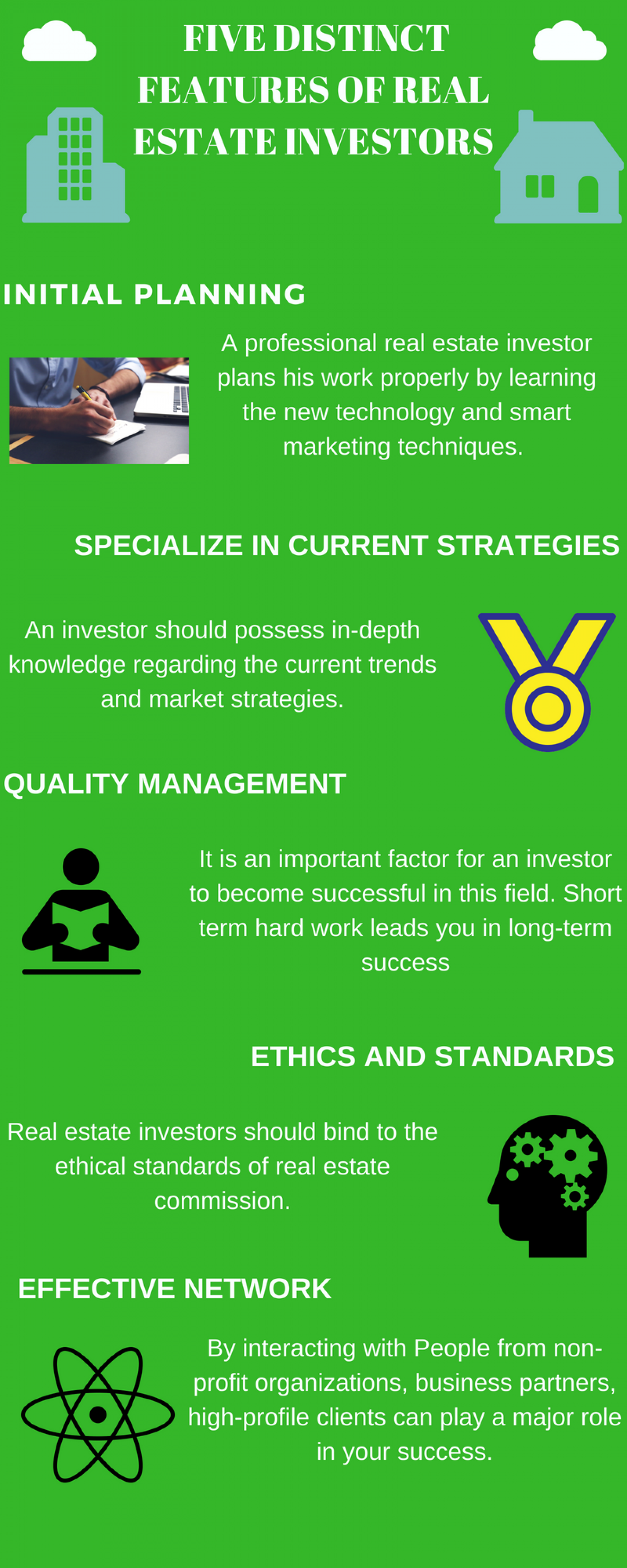 Five distinct features of real estate investor Infographic