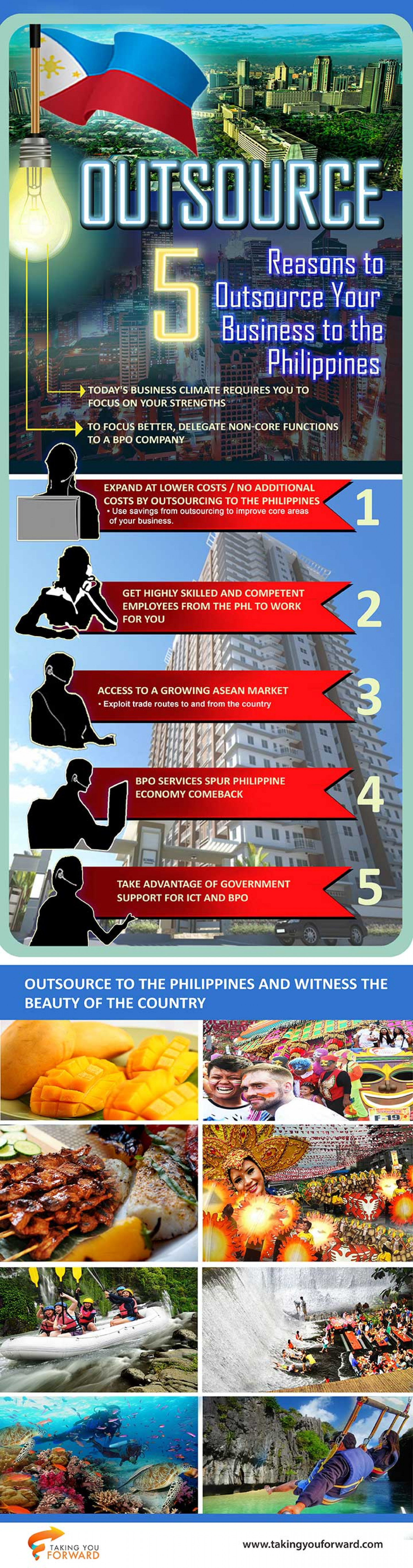 Five Reasons to Outsource Your Business to the Philippines Infographic