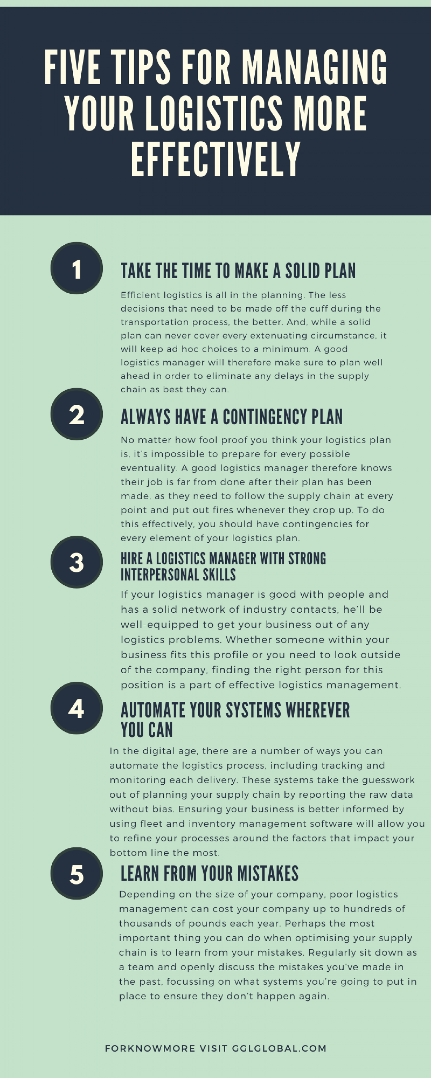 Five tips for managing your logistics more effectively. Infographic